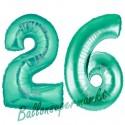 Luftballons aus Folie Zahl 26, Aquamarin, 100 cm mit Helium zum 26. Geburtstag
