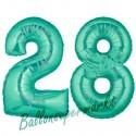 Luftballons aus Folie Zahl 28, Aquamarin, 100 cm mit Helium zum 28. Geburtstag