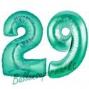 Luftballons aus Folie Zahl 29, Aquamarin, 100 cm mit Helium zum 29. Geburtstag