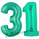 Luftballons aus Folie Zahl 31, Aquamarin, 100 cm mit Helium zum 31. Geburtstag