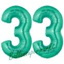 Luftballons aus Folie Zahl 33, Aquamarin, 100 cm mit Helium zum 33. Geburtstag