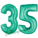 Luftballons aus Folie Zahl 35, Aquamarin, 100 cm mit Helium zum 35. Geburtstag