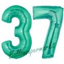 Luftballons aus Folie Zahl 37, Aquamarin, 100 cm mit Helium zum 37. Geburtstag