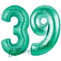 Luftballons aus Folie Zahl 39, Aquamarin, 100 cm mit Helium zum 39. Geburtstag