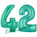 Luftballons aus Folie Zahl 42, Aquamarin, 100 cm mit Helium zum 42. Geburtstag