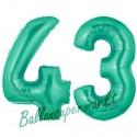 Luftballons aus Folie Zahl 43, Aquamarin, 100 cm mit Helium zum 43. Geburtstag