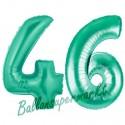 Luftballons aus Folie Zahl 46, Aquamarin, 100 cm mit Helium zum 46. Geburtstag