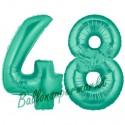 Luftballons aus Folie Zahl 48, Aquamarin, 100 cm mit Helium zum 48. Geburtstag