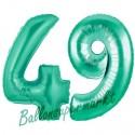 Luftballons aus Folie Zahl 49, Aquamarin, 100 cm mit Helium zum 49. Geburtstag