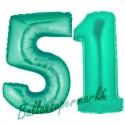 Luftballons aus Folie Zahl 51, Aquamarin, 100 cm mit Helium zum 51. Geburtstag