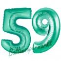 Luftballons aus Folie Zahl 59, Aquamarin, 100 cm mit Helium zum 59. Geburtstag