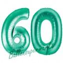 Luftballons aus Folie Zahl 60, Aquamarin, 100 cm mit Helium zum 60. Geburtstag