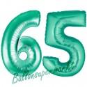 Luftballons aus Folie Zahl 65, Aquamarin, 100 cm mit Helium zum 65. Geburtstag