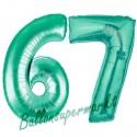Luftballons aus Folie Zahl 67, Aquamarin, 100 cm mit Helium zum 67. Geburtstag