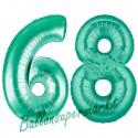 Luftballons aus Folie Zahl 68, Aquamarin, 100 cm mit Helium zum 68. Geburtstag