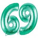 Luftballons aus Folie Zahl 69, Aquamarin, 100 cm mit Helium zum 69. Geburtstag