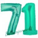 Luftballons aus Folie Zahl 71, Aquamarin, 100 cm mit Helium zum 71. Geburtstag
