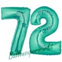 Luftballons aus Folie Zahl 72, Aquamarin, 100 cm mit Helium zum 72. Geburtstag