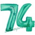 Luftballons aus Folie Zahl 74, Aquamarin, 100 cm mit Helium zum 74. Geburtstag