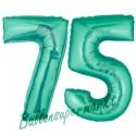 Luftballons aus Folie Zahl 75, Aquamarin, 100 cm mit Helium zum 75. Geburtstag
