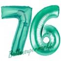 Luftballons aus Folie Zahl 76, Aquamarin, 100 cm mit Helium zum 76. Geburtstag