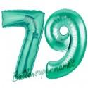 Luftballons aus Folie Zahl 79, Aquamarin, 100 cm mit Helium zum 79. Geburtstag