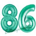 Luftballons aus Folie Zahl 86, Aquamarin, 100 cm mit Helium zum 86. Geburtstag