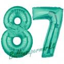Luftballons aus Folie Zahl 87, Aquamarin, 100 cm mit Helium zum 87. Geburtstag