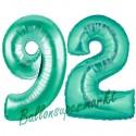 Luftballons aus Folie Zahl 92, Aquamarin, 100 cm mit Helium zum 92. Geburtstag