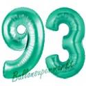 Luftballons aus Folie Zahl 93, Aquamarin, 100 cm mit Helium zum 93. Geburtstag