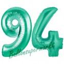 Luftballons aus Folie Zahl 94, Aquamarin, 100 cm mit Helium zum 94. Geburtstag