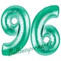 Luftballons aus Folie Zahl 96, Aquamarin, 100 cm mit Helium zum 96. Geburtstag
