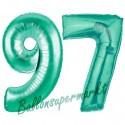 Luftballons aus Folie Zahl 97, Aquamarin, 100 cm mit Helium zum 97. Geburtstag