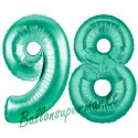 Luftballons aus Folie Zahl 98, Aquamarin, 100 cm mit Helium zum 98. Geburtstag