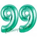 Luftballons aus Folie Zahl 99, Aquamarin, 100 cm mit Helium zum 99. Geburtstag