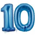 Luftballons aus Folie Zahl 10, Blau, 100 cm mit Helium zum 10. Geburtstag