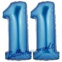 Luftballons aus Folie Zahl 11, Blau, 100 cm mit Helium zum 11. Geburtstag