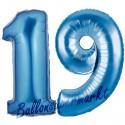 Luftballons aus Folie Zahl 19, Blau, 100 cm mit Helium zum 19. Geburtstag