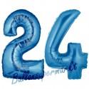 Luftballons aus Folie Zahl 24, Blau, 100 cm mit Helium zum 24. Geburtstag