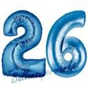 Luftballons aus Folie Zahl 26, Blau, 100 cm mit Helium zum 26. Geburtstag