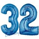 Luftballons aus Folie Zahl 32, Blau, 100 cm mit Helium zum 32. Geburtstag
