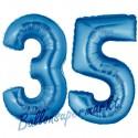 Luftballons aus Folie Zahl 35, Blau, 100 cm mit Helium zum 35. Geburtstag