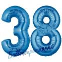 Luftballons aus Folie Zahl 38, Blau, 100 cm mit Helium zum 38. Geburtstag