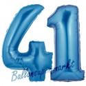 Luftballons aus Folie Zahl 41, Blau, 100 cm mit Helium zum 41. Geburtstag