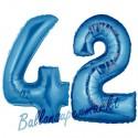 Luftballons aus Folie Zahl 42, Blau, 100 cm mit Helium zum 42. Geburtstag