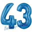 Luftballons aus Folie Zahl 43, Blau, 100 cm mit Helium zum 43. Geburtstag