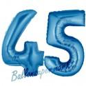 Luftballons aus Folie Zahl 45, Blau, 100 cm mit Helium zum 45. Geburtstag