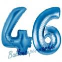 Luftballons aus Folie Zahl 46, Blau, 100 cm mit Helium zum 46. Geburtstag
