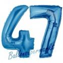 Luftballons aus Folie Zahl 47, Blau, 100 cm mit Helium zum 47. Geburtstag