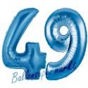 Luftballons aus Folie Zahl 49, Blau, 100 cm mit Helium zum 49. Geburtstag